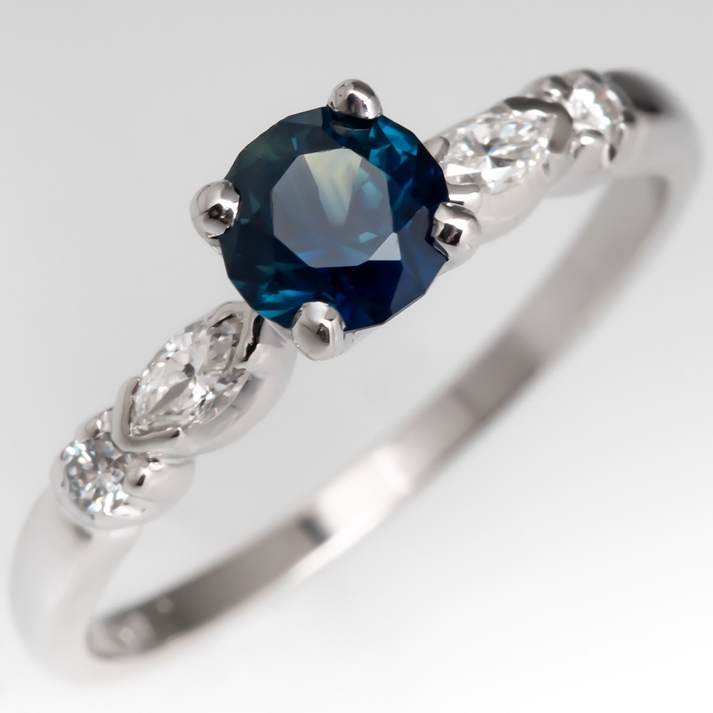 No Heat .69CT Dark Green-Blue Sapphire Engagement Ring 14K