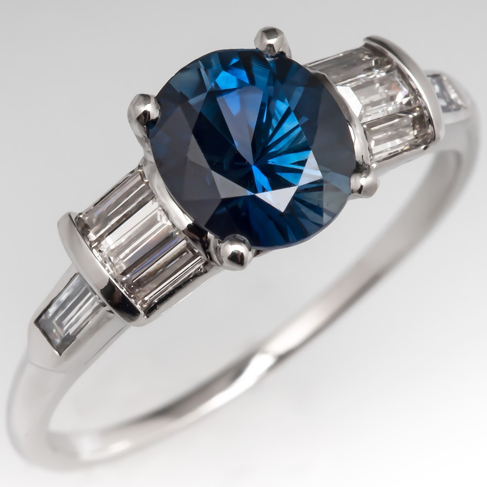 Dark Blue-Green Sapphire Engagement Ring w/ Baguette Diamonds