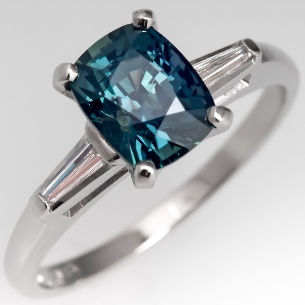 No Heat Teal Sapphire Engagement Ring w/ Baguette Diamonds