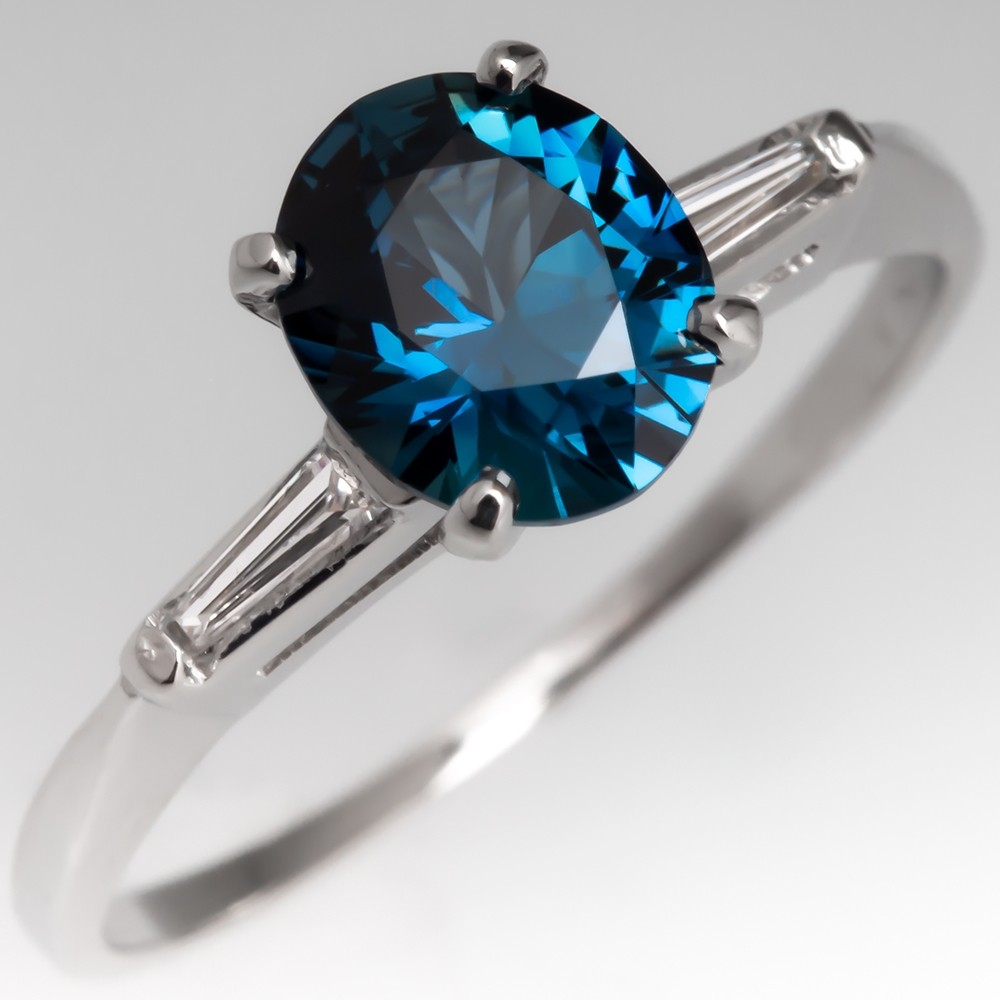 No Heat Rich Teal Sapphire Engagement Ring w/ Baguette Diamonds