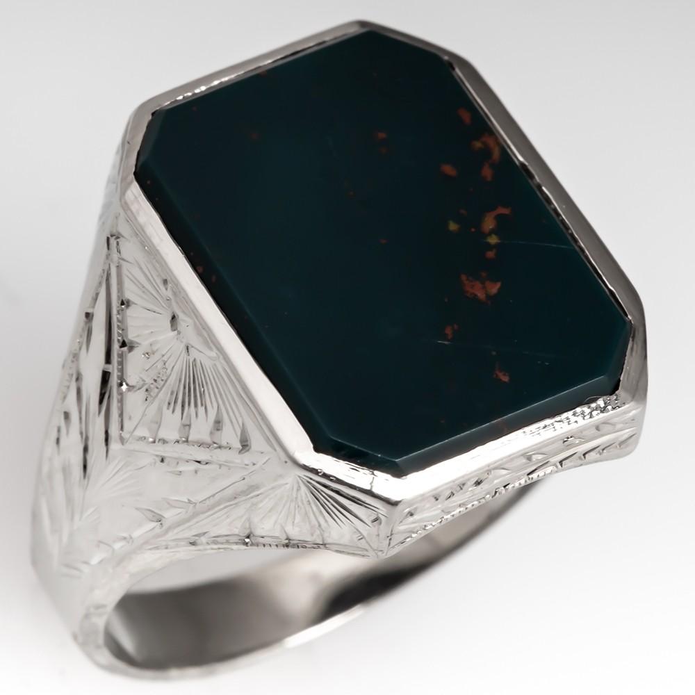 1950's Vintage Mens Bloodstone Ring 14K White Gold