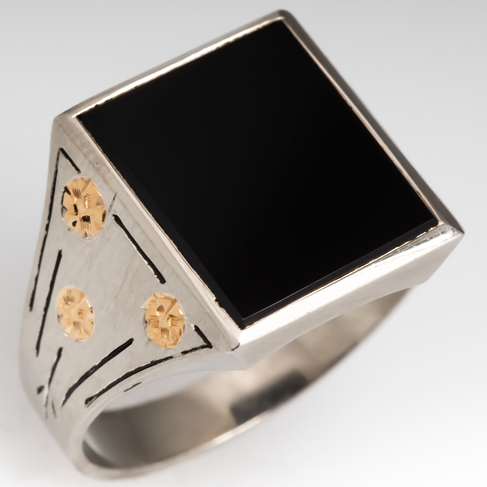 Vintage Mens Onyx Ring 14K White Gold w/Rose Accent