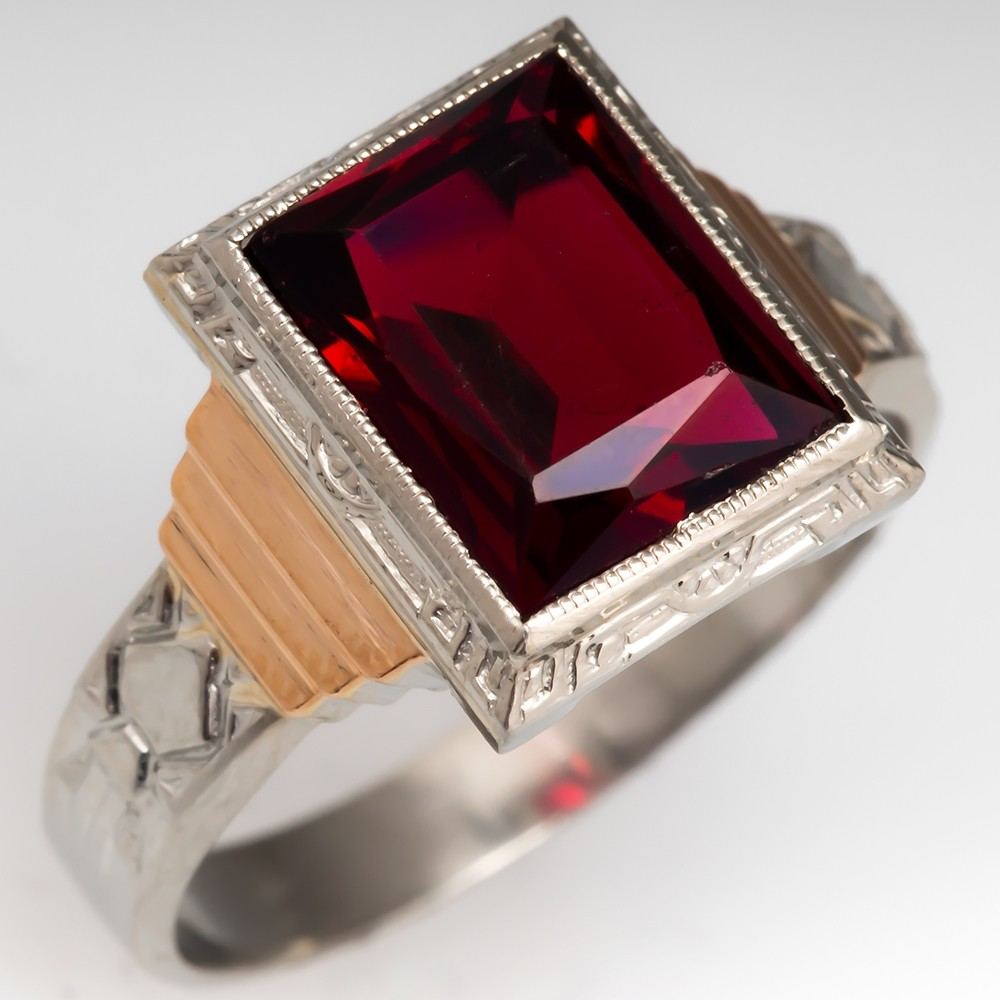 1940's Retro Vintage Mens Garnet Gemstone Ring 14K Gold