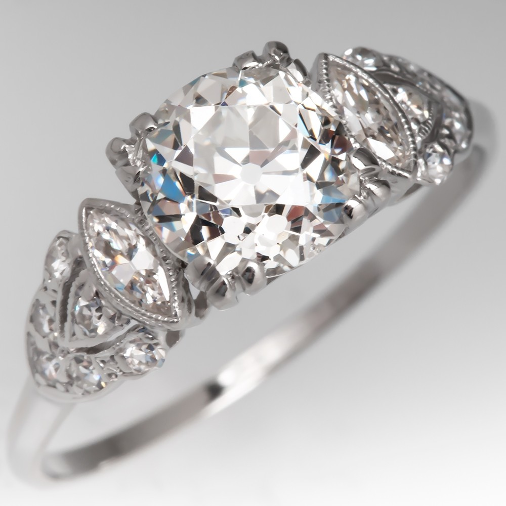 Stunning 1920's Antique Diamond Engagement Ring Platinum GIA 1.51Ct