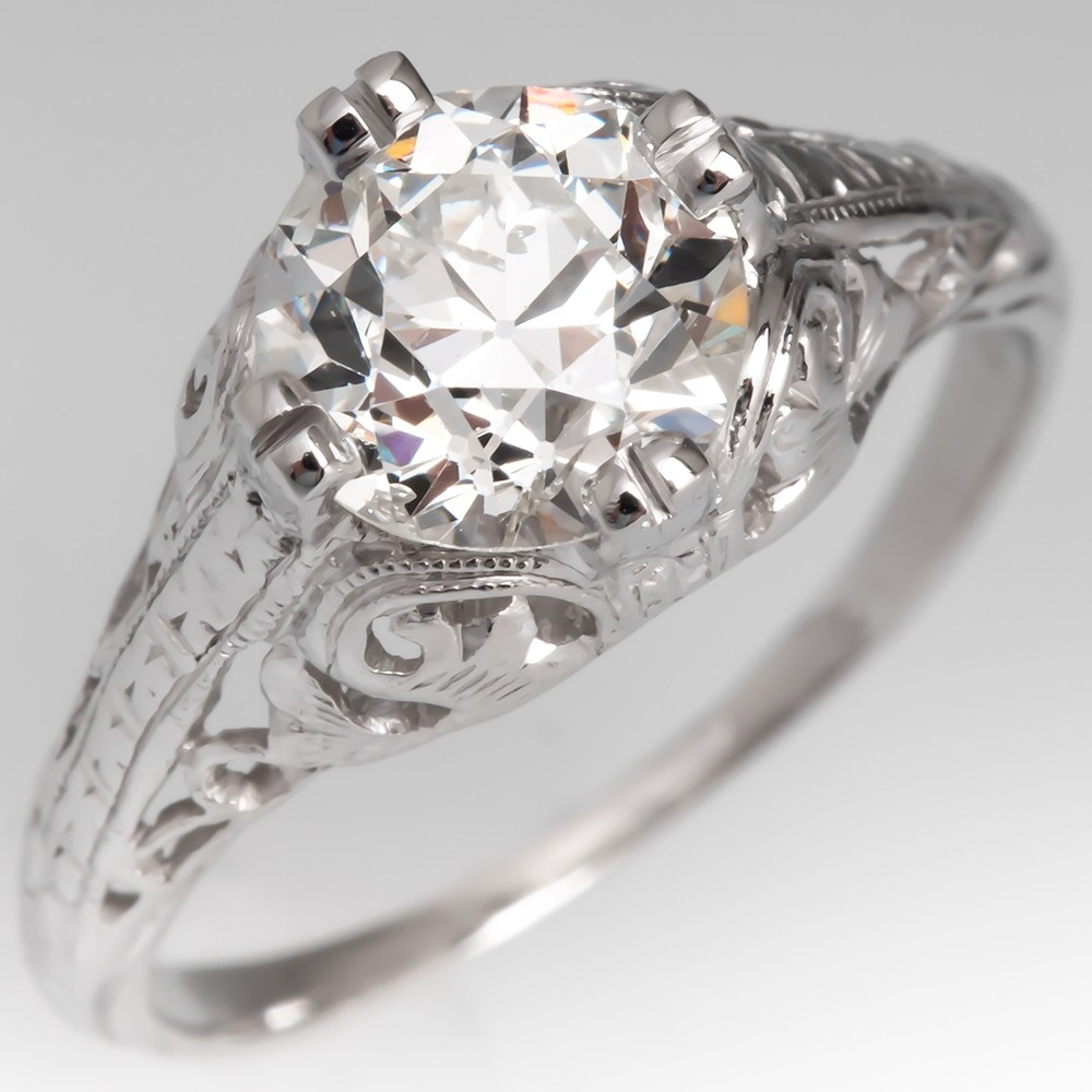 1920's Platinum Filigree Antique Diamond Engagement Ring GIA 1.36ct