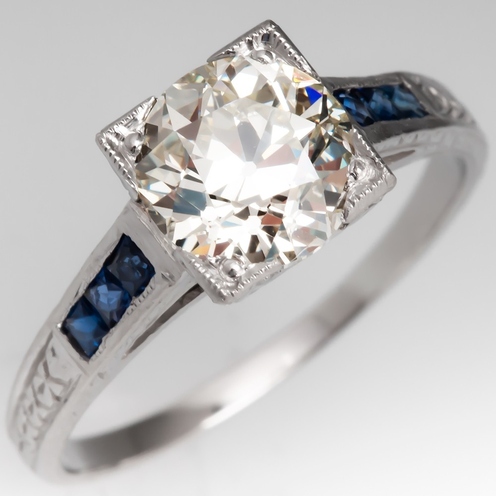 Vintage Engagement Ring w/Sapphire Accents Heirloom Old Euro Diamond GIA