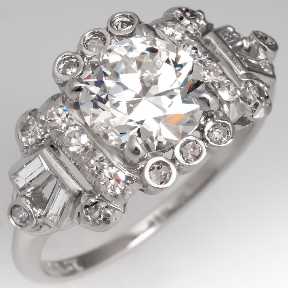 Ornate Late Art Deco 1930's Diamond Engagement Ring Platinum GIA I/VS2