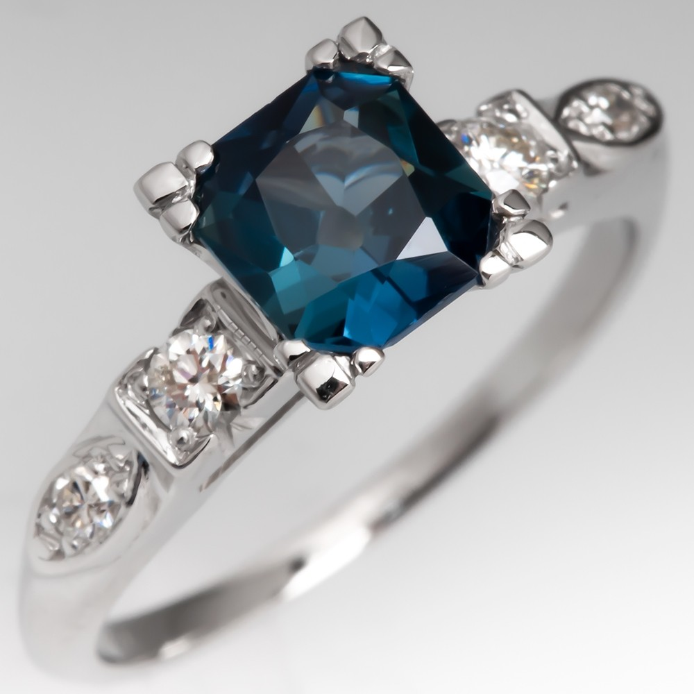 Teal Green Blue Sapphire in Vintage Platinum Diamond Mounting