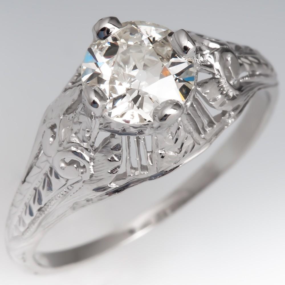 Detailed 1930's Antique Diamond Ring Platinum GIA
