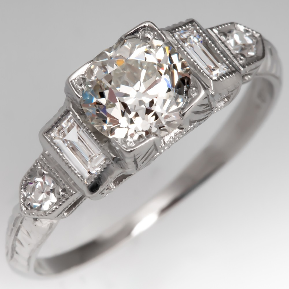 Platinum 1920's Antique Diamond Engagement Ring GIA J/VS2