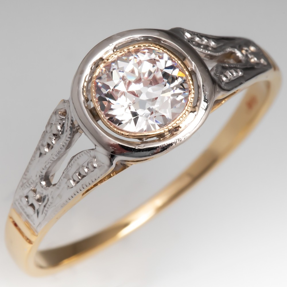 Beautiful Antique Bezel Diamond Engagement Ring 18K Gold