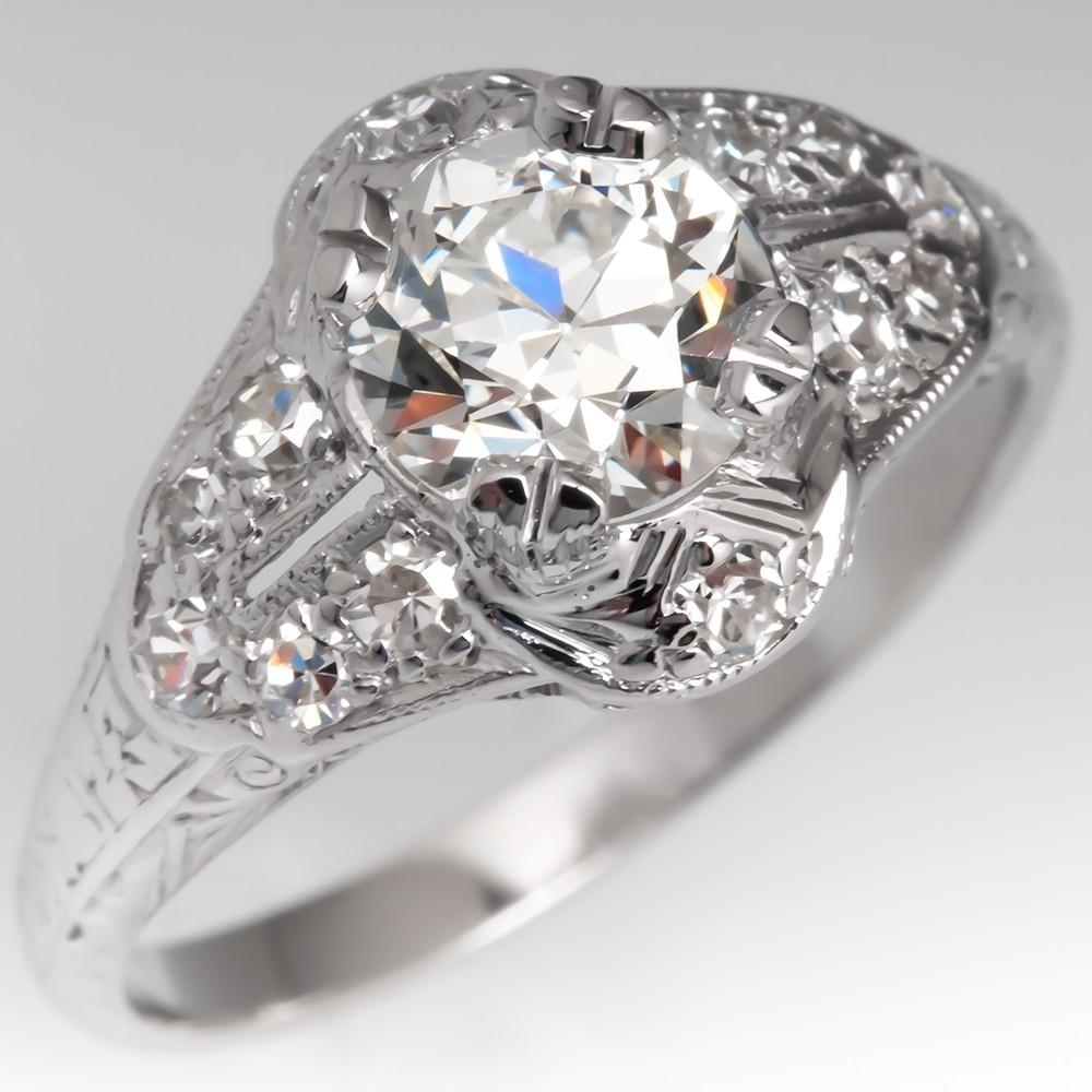 Beautiful Late 1930's Antique Diamond Engagement Ring Platinum GIA