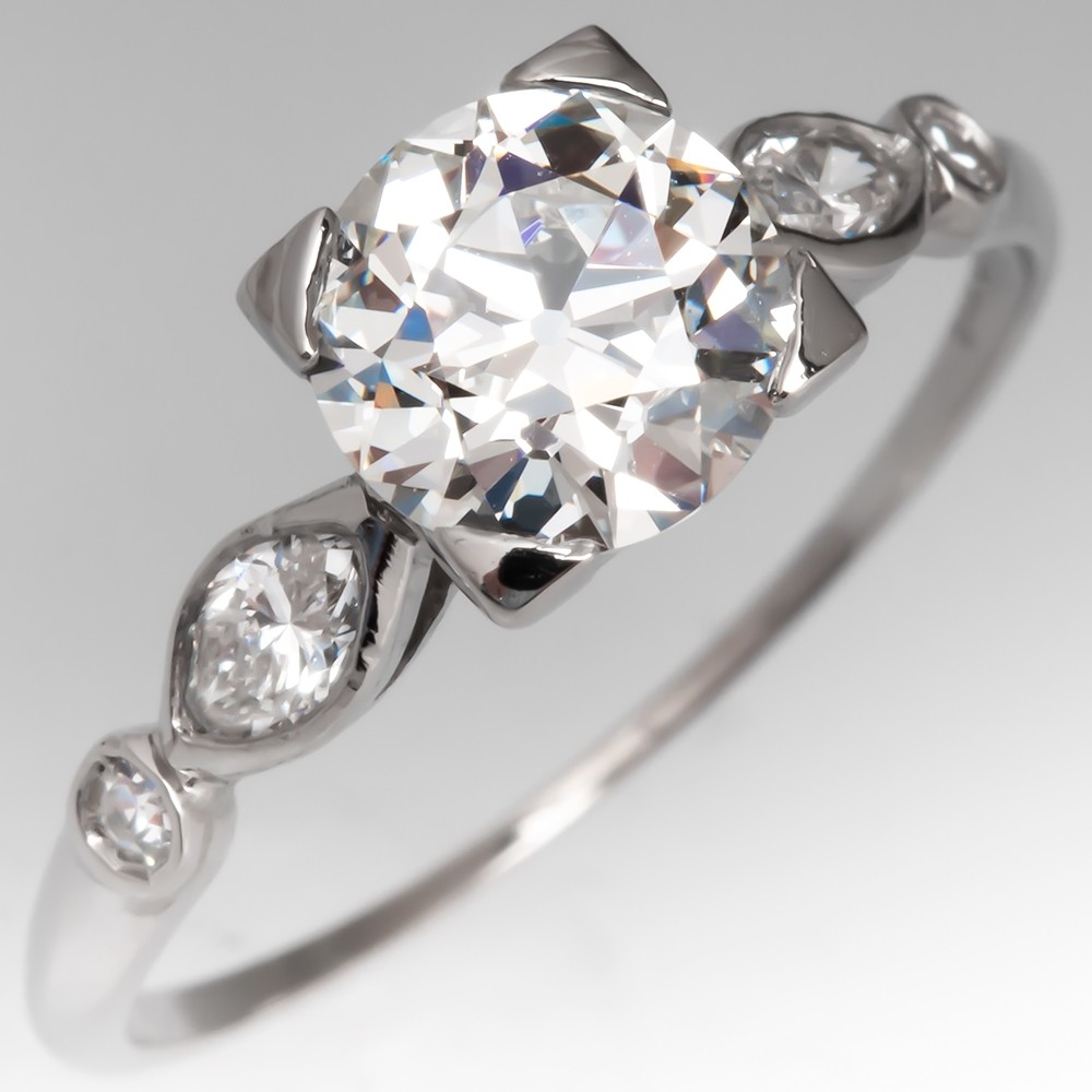 Perfect Vintage Engagement Ring 1 Carat Old Euro Diamond