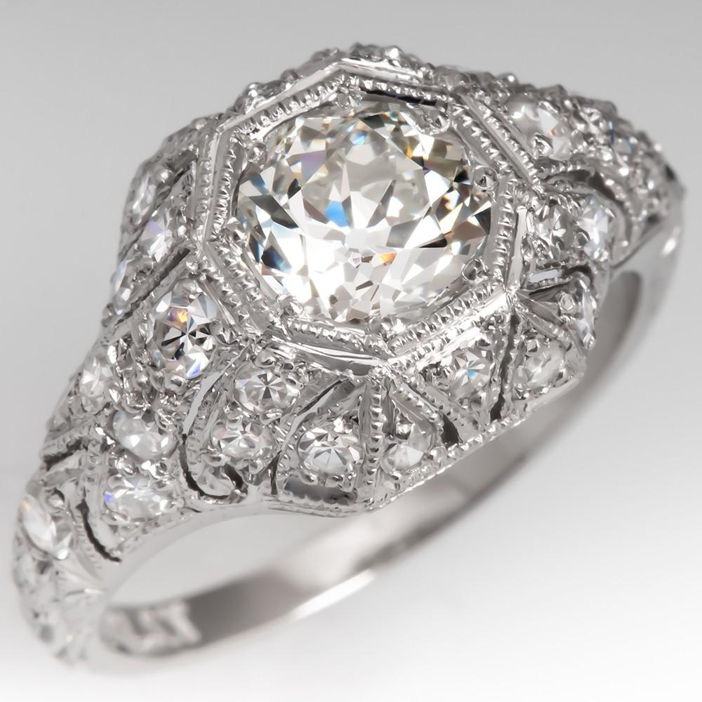 Amazing Diamond Encrusted Filigree Engagement Ring