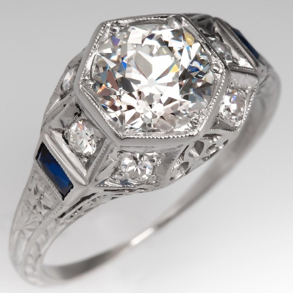 Art Deco Engagement Ring Old Euro Diamond w/ Sapphires Geometric