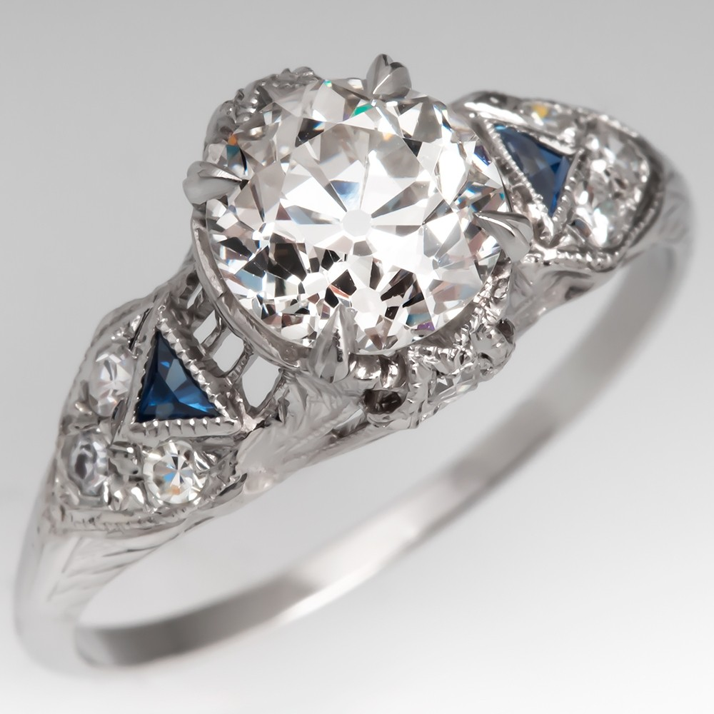 Ornate Art Deco Engagement Ring Old Euro Diamond w/ Sapphires