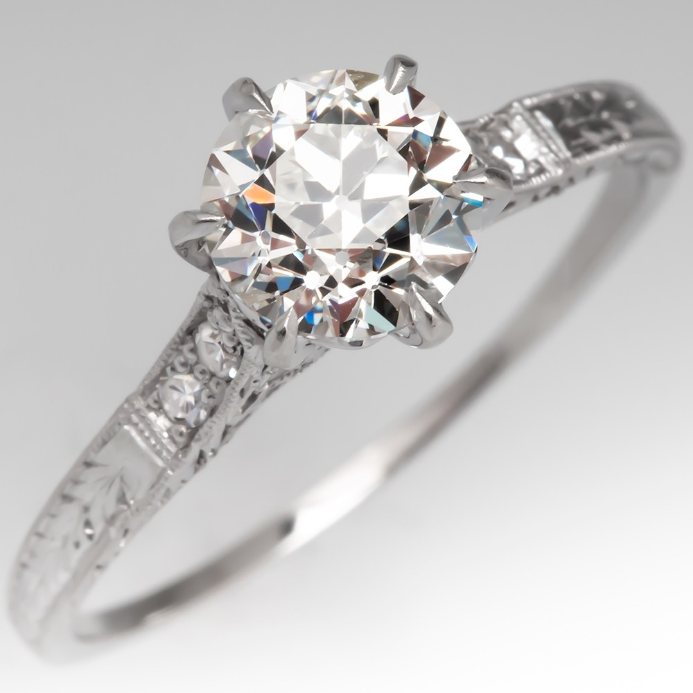 GIA Old Euro Diamond Antique Crown Engagement Ring Engraved