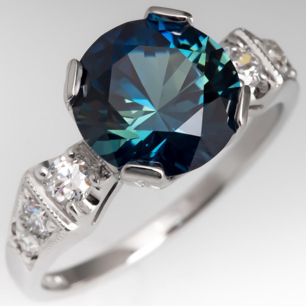 Stunning No Heat 3 Carat Sapphire Engagement Ring 1940's Mount