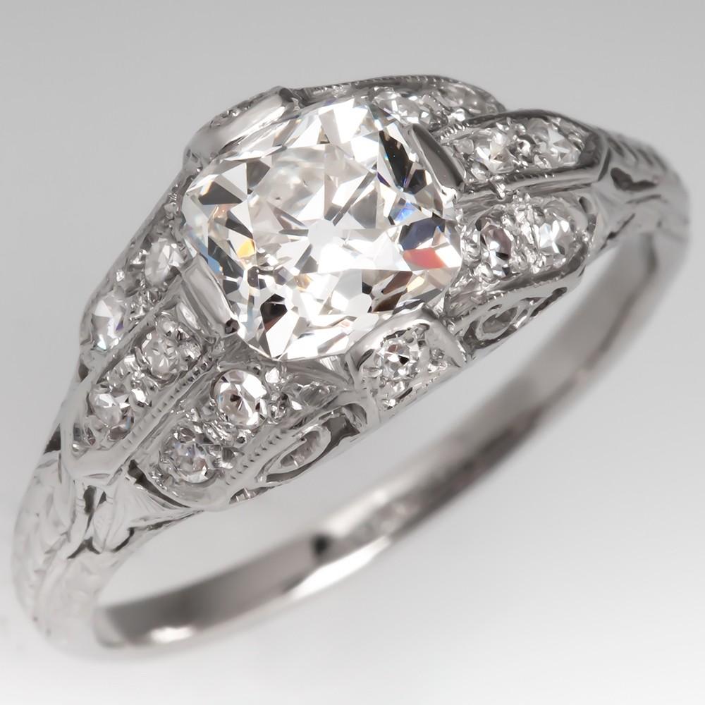 1920's Art Deco 1 Carat Old Mine Cut Diamond Engagement Ring