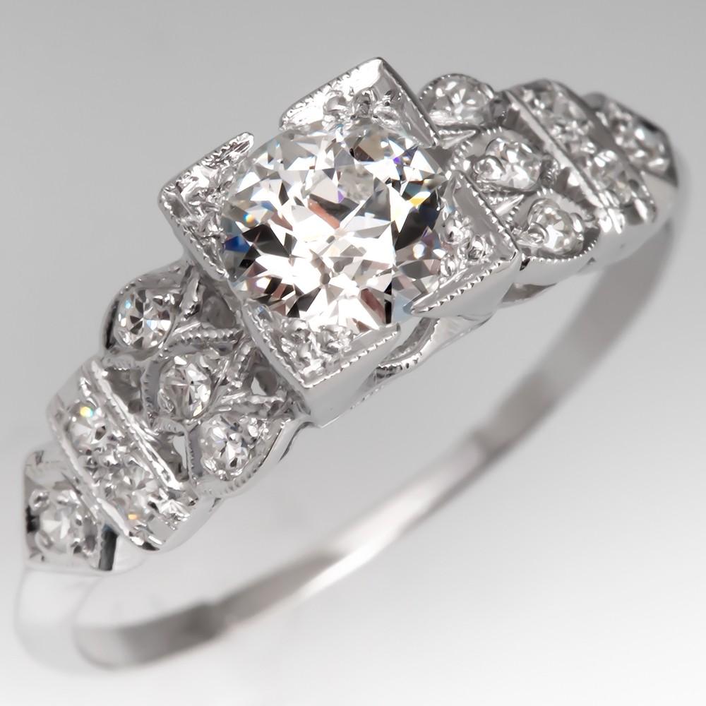 1920's Antique Engagement Ring GIA H/VVS2 Old Euro Diamond