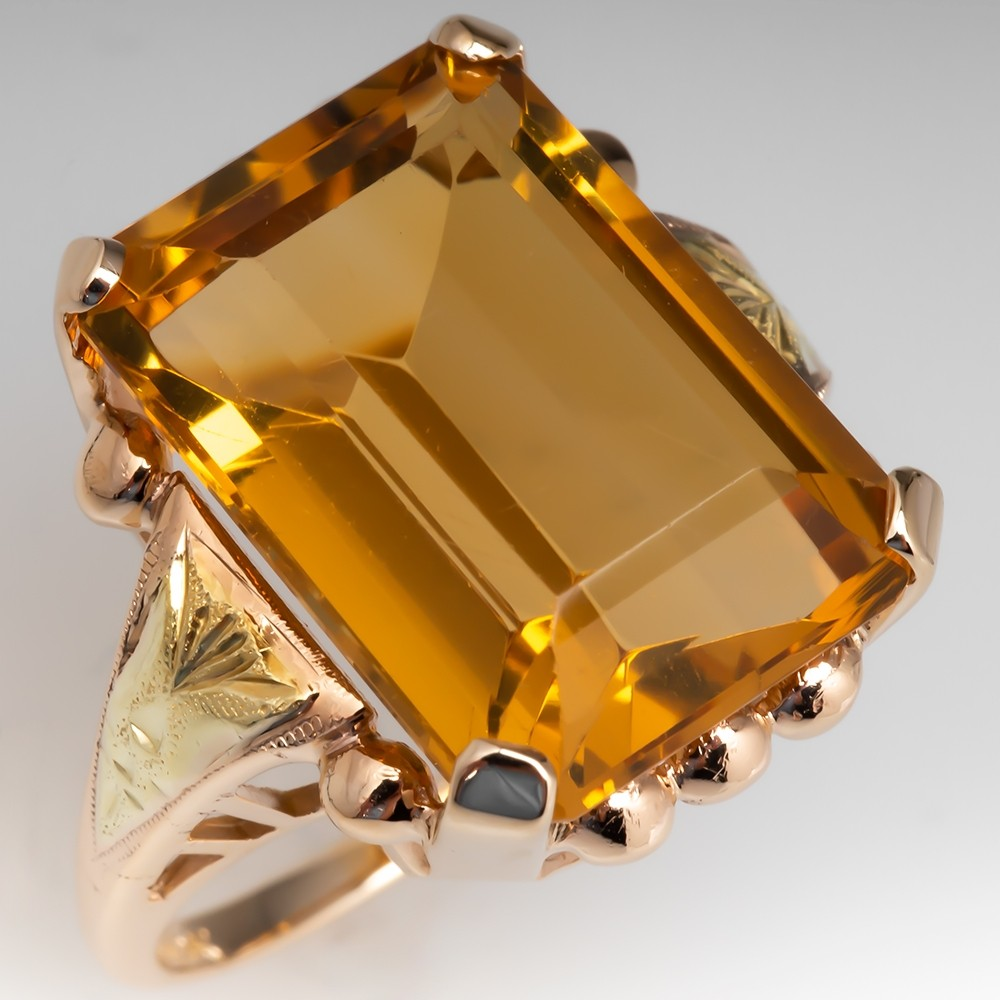 Citrine Cocktail Ring Vintage Yellow & Green Gold
