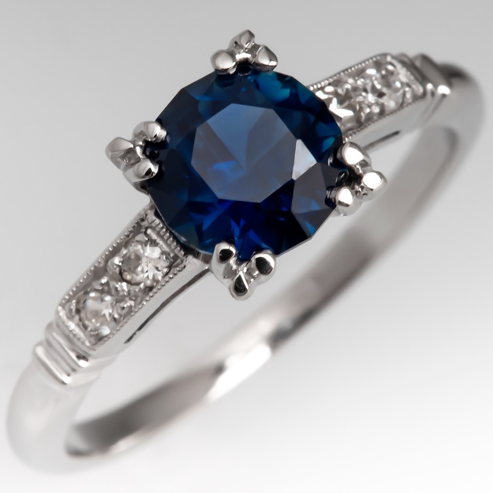 No Heat Dark Blue Sapphire Engagement Ring 1950's Mount