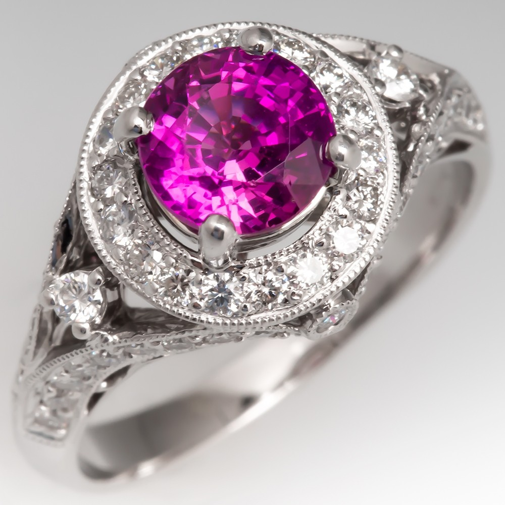 Pink Sapphire & Diamond Halo Engagement Ring 18K White Gold