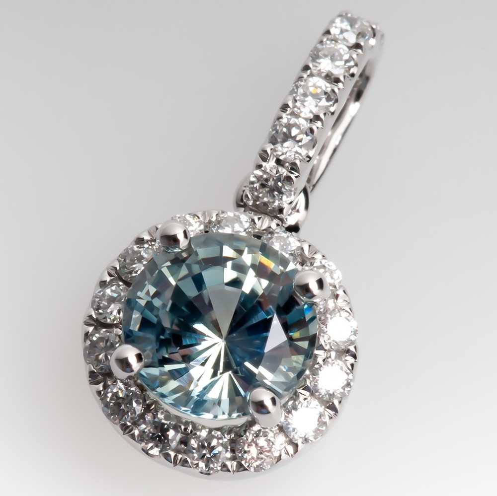 Icy Blue Green Madagascar Sapphire & Diamond Pendant 14K White Gold