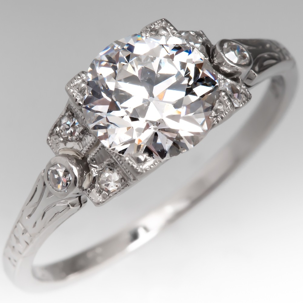 GIA 1 Carat Old Euro Diamond Art Deco Engagement Ring
