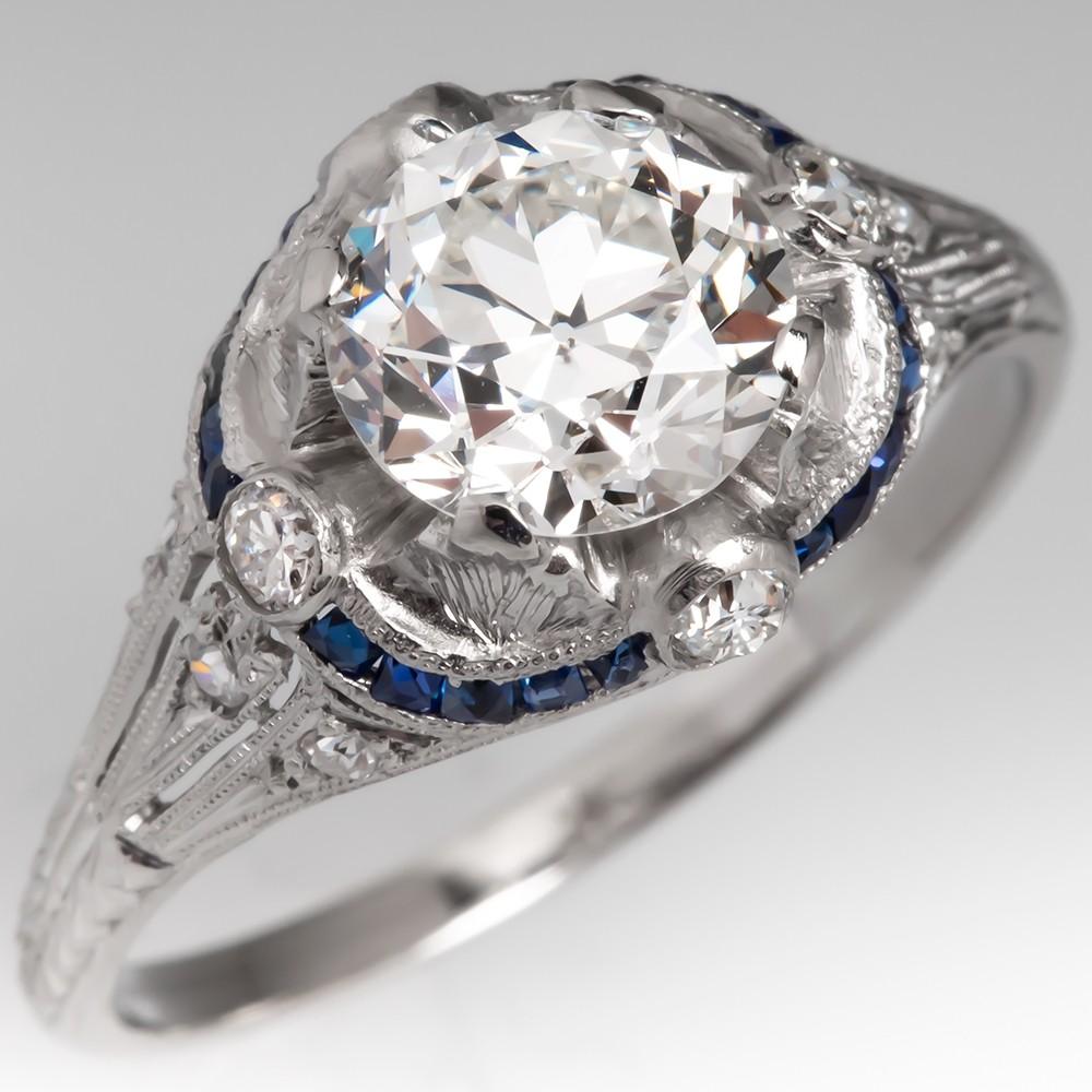 Art Deco Engagement Ring 1.5 Carat Transitional Cut Diamond w/ Sapphires