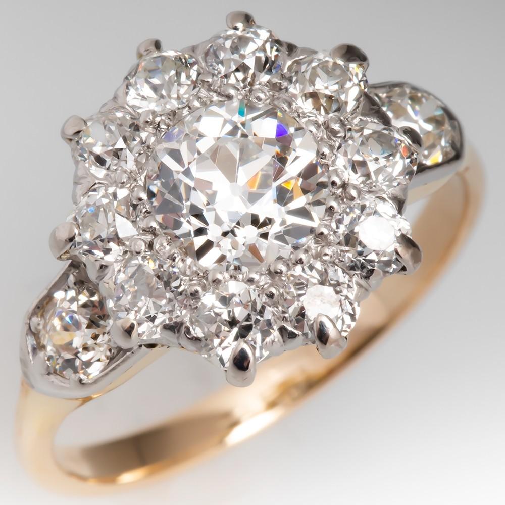 GIA Victorian Old Euro Diamond Halo Engagement Ring