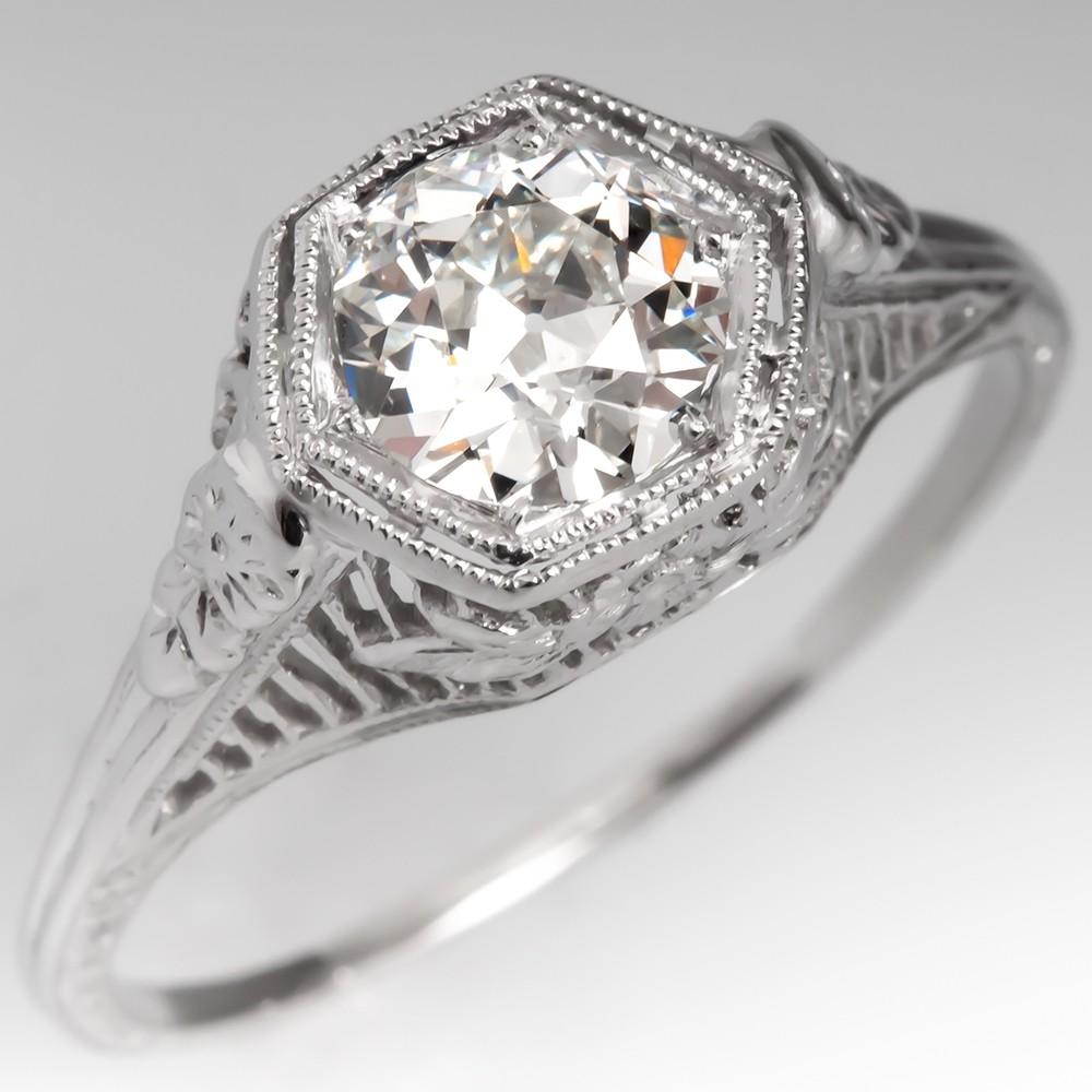 Antique Filigree Engagement Ring GIA I/VS2 Old Euro Diamond