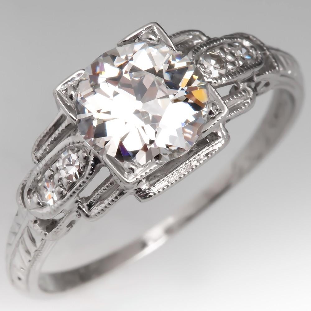 1920's Engagement Ring GIA Old Euro Diamond F/VS2 Platinum
