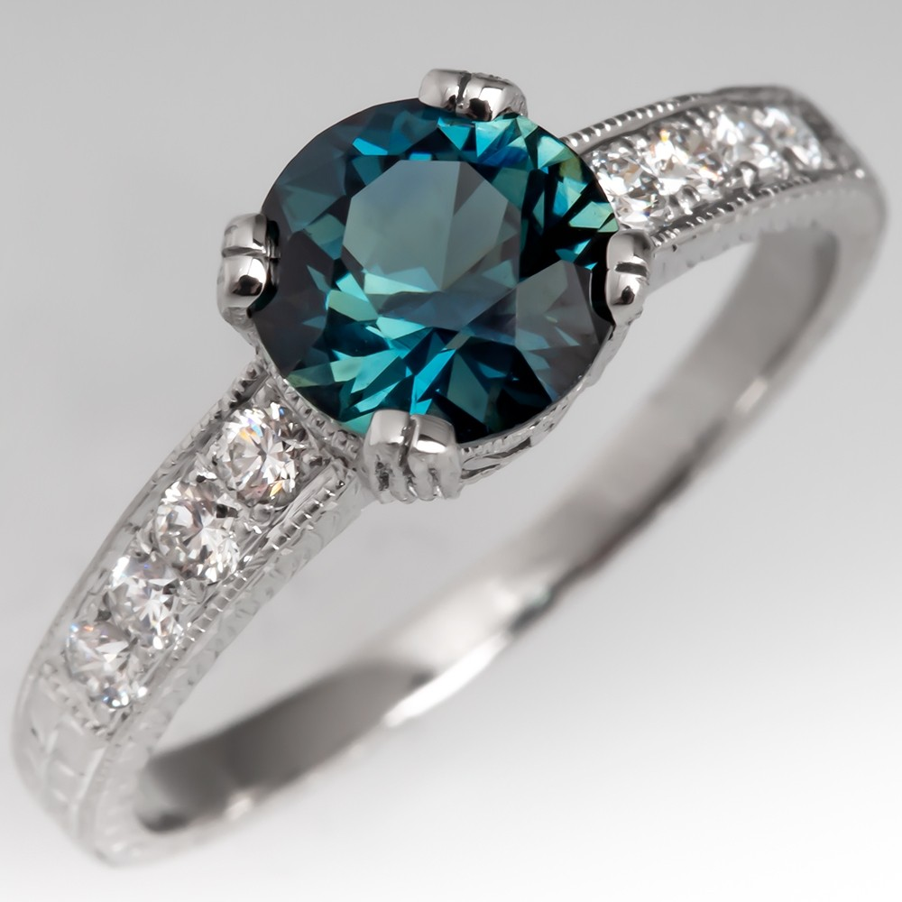 No Heat Stunning Teal Sapphire Engagement Ring Platinum