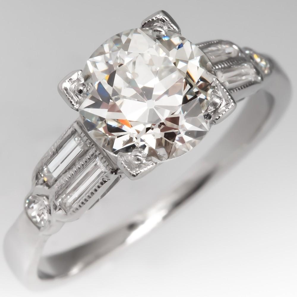 Antique Engagement Ring 1.4CT Old European Cut Diamond Platinum