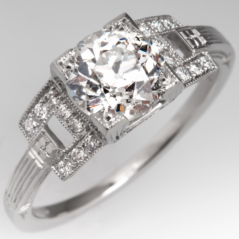 1.4CT Old European Cut Diamond Engagement Ring Platinum Geometric