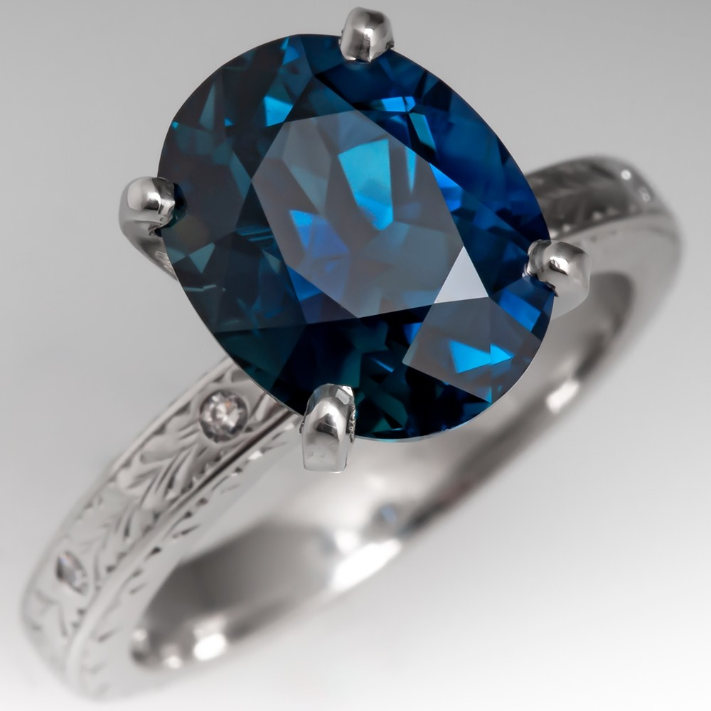 No Heat 5.8 Carat Peacock Sapphire Engagement Ring