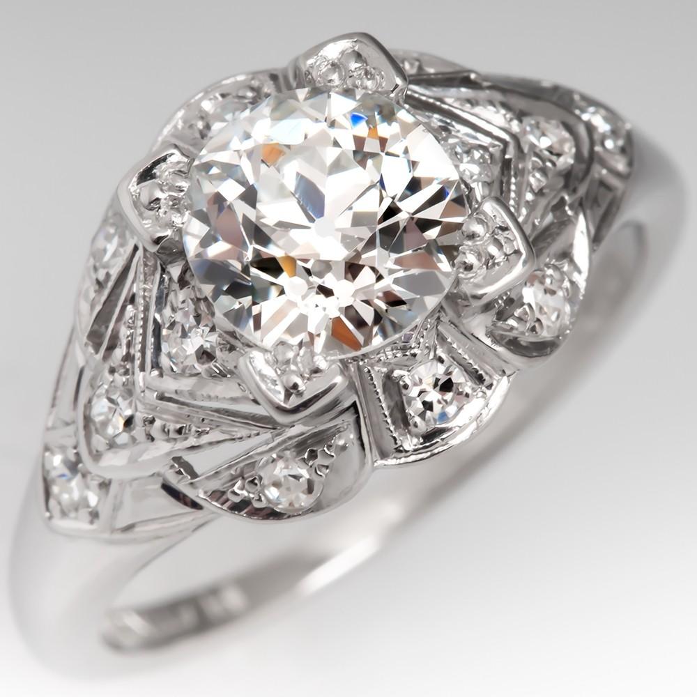 GIA 1.2 Carat Old Euro Diamond Antique Engagement Ring