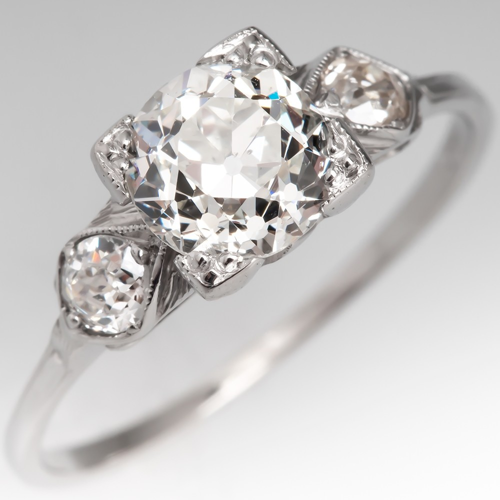 Gorgeous 1930's Engagement Ring 1.2 Carat Old Euro Diamond