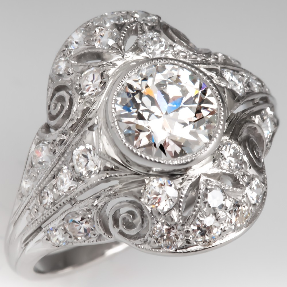 Edwardian Engagement Ring GIA G/VS2 Old Euro Diamond