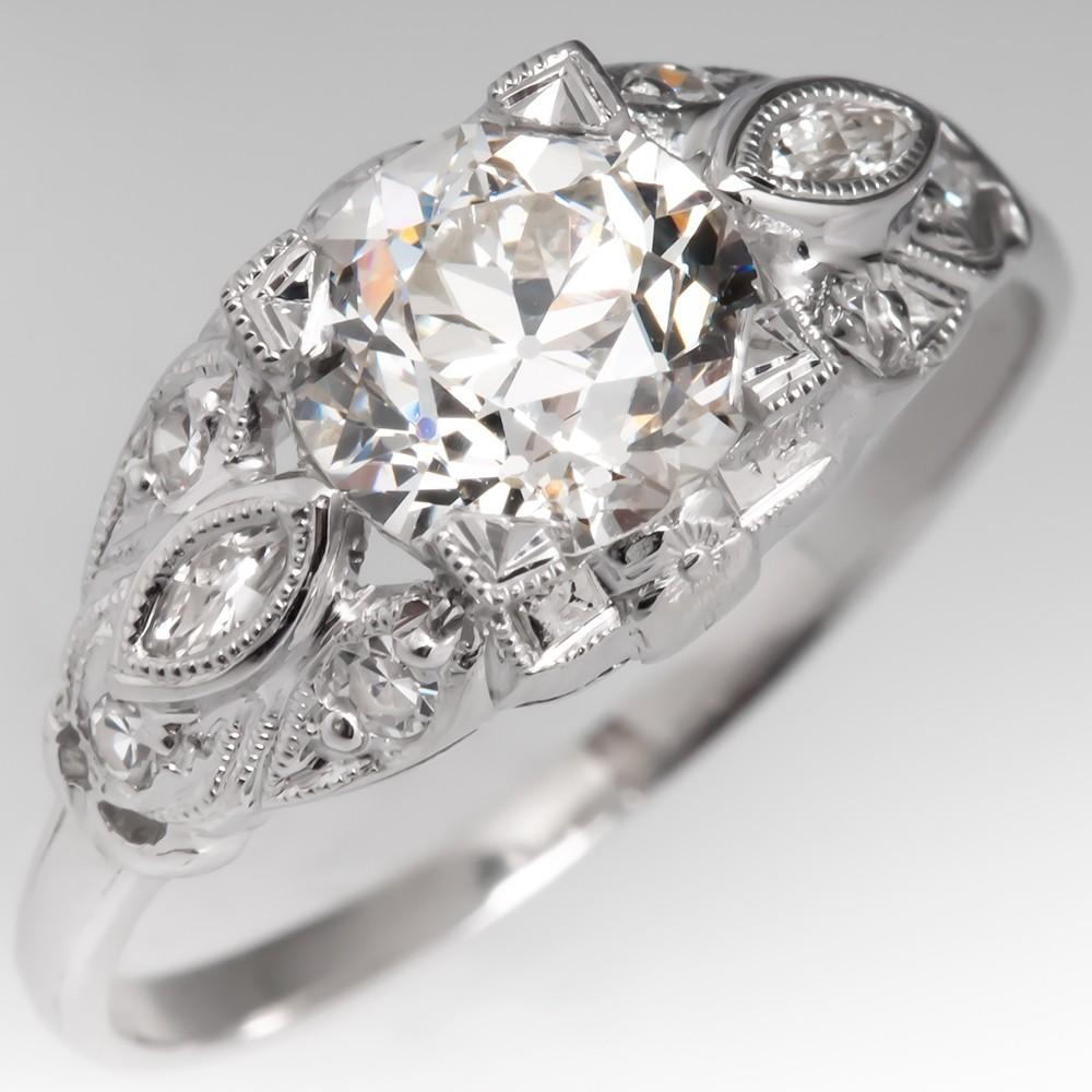 GIA 1.37CT Old Euro Diamond Antique Engagement Ring