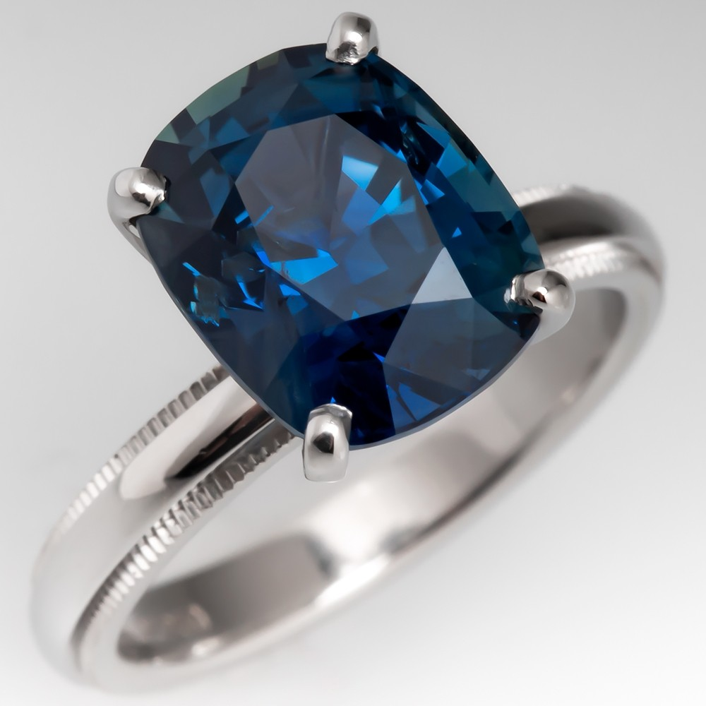 5.7 Carat No Heat Teal Sapphire Set on Platinum Tiffany Band