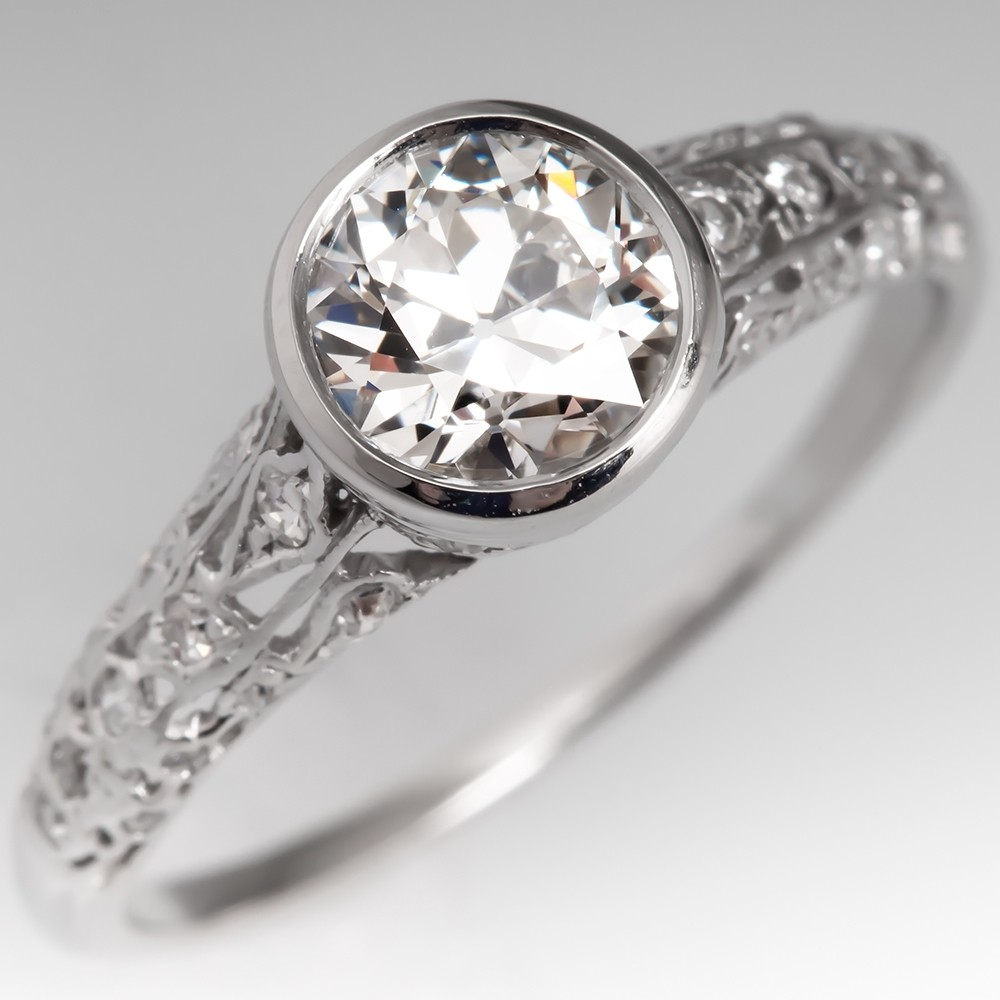 1920's Bezel Set Diamond Antique Filigree Engagement Ring