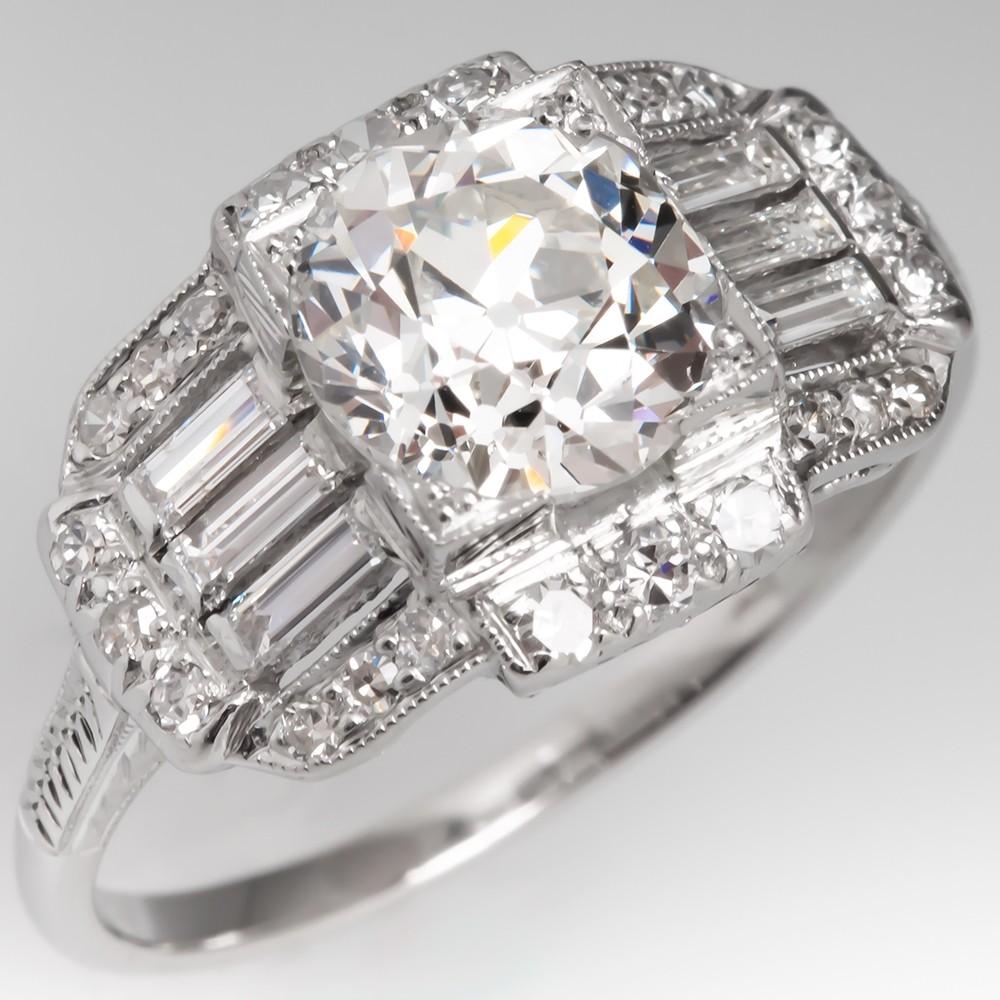 GIA 2 Carat Old Euro Diamond Antique Engagement Ring