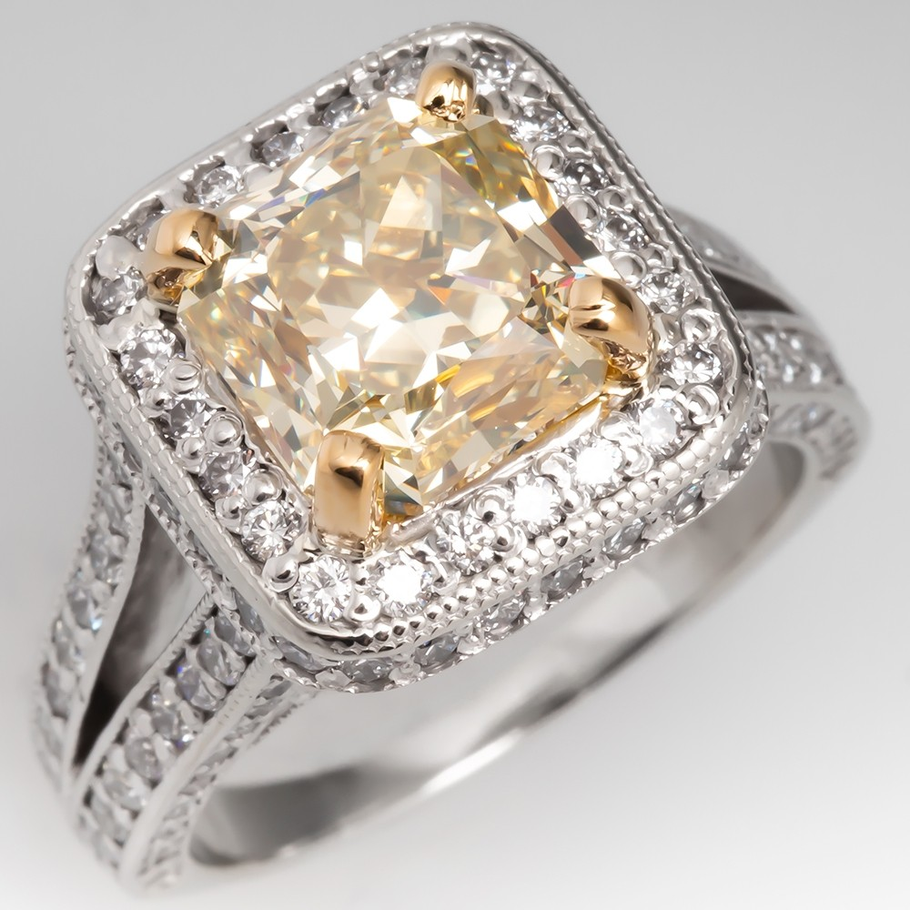 GIA 4 Carat Fancy Light Yellow Diamond Engagement Ring