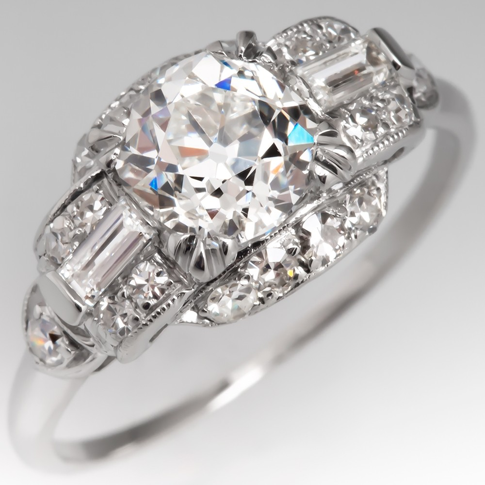 GIA Certified G/SI1 Old Mine Cut Diamond Antique Engagement Ring