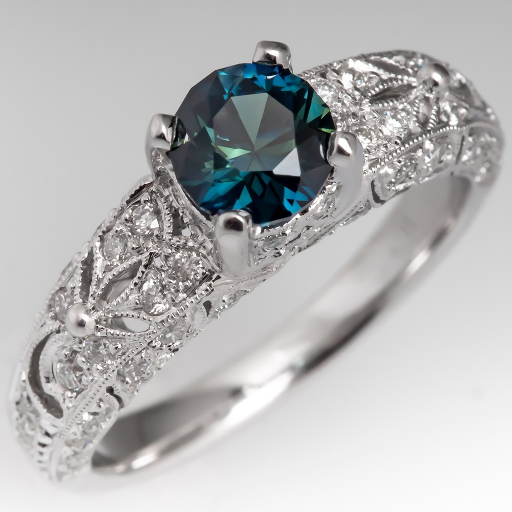 No Heat Dark Peacock Sapphire Engagement Ring Filigree 18K