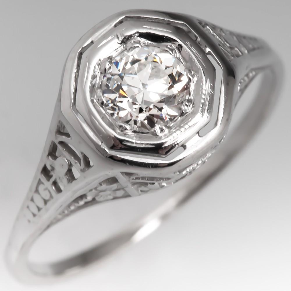 Vintage Filigree Engagement Ring Old Euro Diamond 14K White Gold