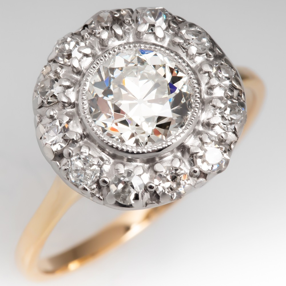 Beautiful Bezel Set Antique Old Euro Cut Diamond Halo Ring 14K Gold