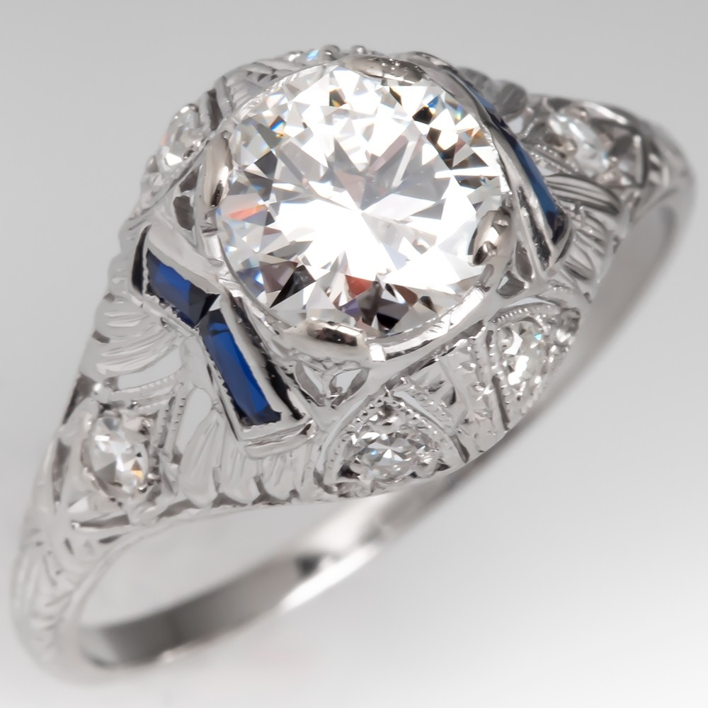 Art Deco Engagement Ring 1 Carat Transitional Cut Diamond w/ Sapphires